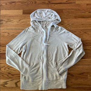 Zella Lightweight Zip Up Off White Hoodie